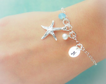 Sterling Silver Personalized Starfish Bracelet with Initial and Birthstone, Pearl, Shell or Sea Glass Charms