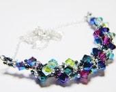 "Astronomy Swarovski Crystal Purple Velvet 2X AB Peridot 2X AB Burgundy Blue Necklace Beadweaving Sterling Silver -  ""The Kaboom Nebula"""