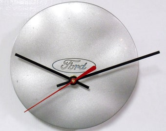 Recycled Wall Clock made from 1996 - 1999 Ford Taurus Center Cap - 1997 1998