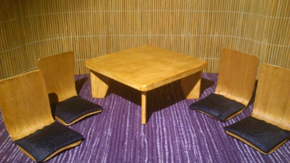 Miniature Japanese Low Table And 4 Low Chairs In 1 12 Scale