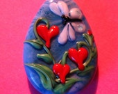Heart Flowers and Butterfly--Lampwork focal bead--Signed