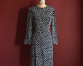 Vintage 1980's Bill Blass Silk Black And White Polka Dot Sheath Dress With Long Sleeves -  Size 10 Medium