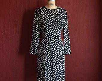 Vintage 1980's Bill Blass Silk Black And White Polka Dot Sheath Dress With Long Sleeves -  Size 10 Medium