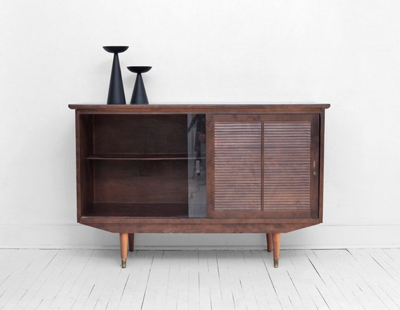 Items similar to SALE Vintage Credenza Mid Century, Modern, Wood, Sideboard, Buffet, Glass