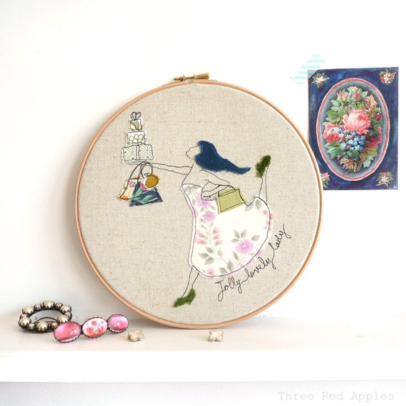 "Jolly Lovely Lady - Personalised Embroidered Hoop Art - blue, pink & green - large 10"" hoop"