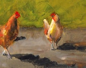 Chicken Shadows - Canvas or Paper Print of an Original Painting