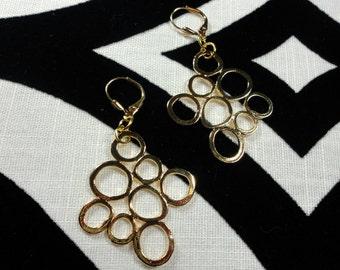 Multiple Loop Brass Pierced Earrings