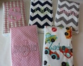 Burp Cloth SET OF 5 - You Choose the Fabric...FREE Embroidery