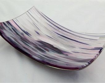 Purple and mauve fused glass dish