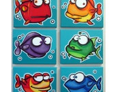 mANy FiSHEs - set of 6 8x10 original paintings on canvas, fish paintings, fish room decor, fish wall art