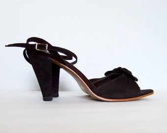Vintage sz 6 Dark Brown Bow High Heels 1970s 70s Peep Toe Heels Office Fashion