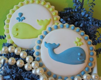 Preppy Blue & Green Whales Decorated Sugar Cookies (12)
