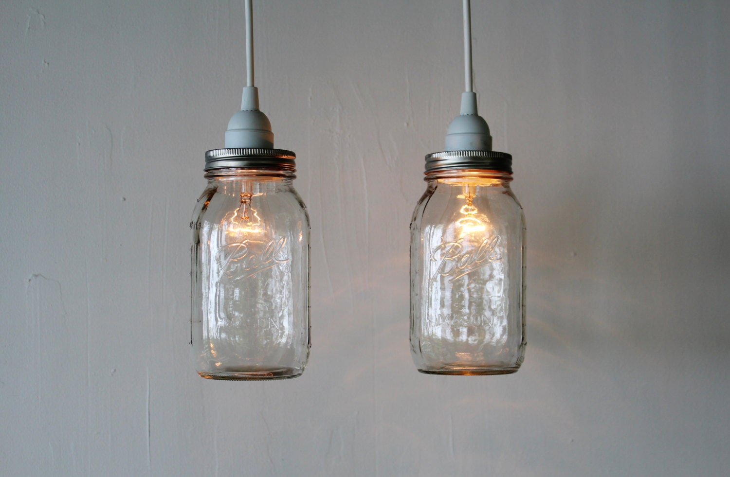 Pair of mason jar hanging pendant lights upcycled rustic for Hanging lights made from mason jars
