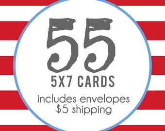 55 5x7 Professionally Printed Cards with Envelopes