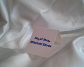 New York Knicks Themed Blue and Orange Square place cards with Big Orange Crystals