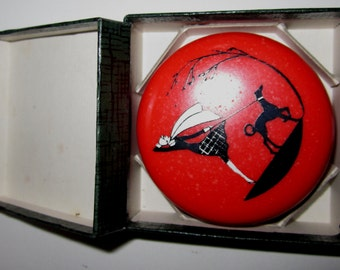 Vintage Bakelite Pill Box The Lady Walking the Dog by Sarsaparilla Deco Design in Cherry Red