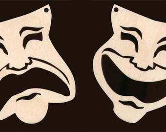 Theater Drama Masks Comedy  Tragedy Natural Craft Wood Cutout 1176