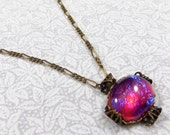 Witch's Brew Necklace with Vintage Dragon's Breath Cabochon