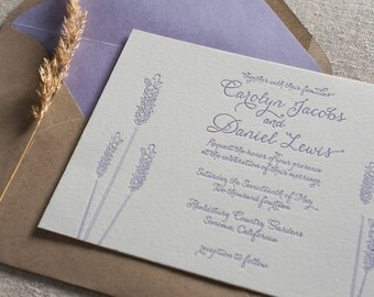 Lavender Letterpress Wedding Invitation
