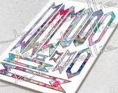 Artful Banners (w Label) Digital Collage Sheet