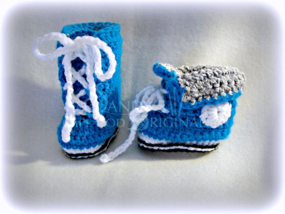 Crochet High Top Booties Free Pattern : Sneaker Booties Crochet Pattern High Tops PDF 696