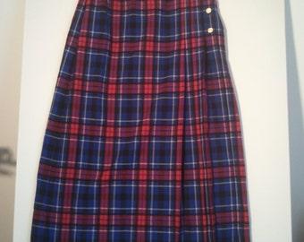 wool plaid skirt grunge punk 80s hippie boho bohemian size 14 tartan kilt schoolgirl uniform