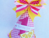 Pink Lemonade Birthday Party Hat in Pink and White Gingham and Yellow Polka Dots