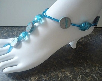 Barefoot sandals tropical island foot thong foot jewelry anklet beachy barefoot sandles cruise acrylic stretch ocean turquoise jewelry