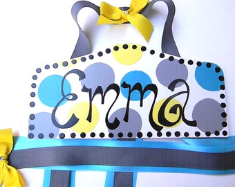 Hair Bow Holder-Turquoise, Gray, and Yellow