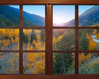 Wall mural window, self adhesive, Colorado window view-3 sizes available- Cottonwood Pass Sunset - free US shipping