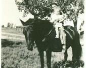 Pony Ride Girl Boy La Crosse Wisconsin Vintage Black And White Photo Photograph
