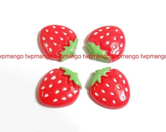 Lot of 20 Resin Strawberry Cabochon...Flat Back...N69
