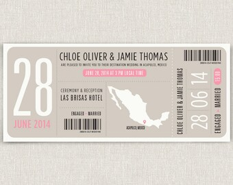 Boarding - Modern destination wedding invitation boarding pass design