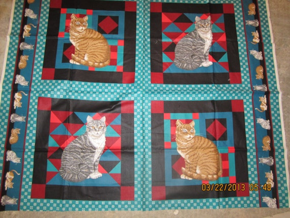 Sale Cat Pillows Or Cheater Quilt Fabric Panel Vip Cranston