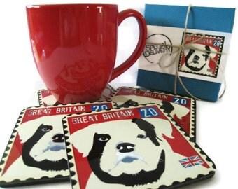 Bulldog Art Dog Coasters featuring the English Bulldog Home Decor Hostess Gift
