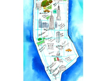Print from original watercolor and pen map illustration of NYC, titled This is My New York by Jessica Durrant