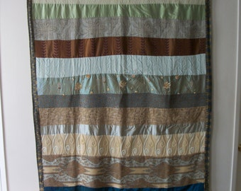 QUILTED WALL HANGING - Earth Tones, Blues and Greens and Free Shipping