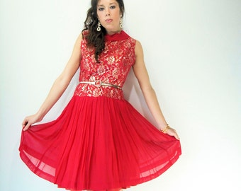 Vintage 50's Mode O' Day Red Crepe Full Skirt Dolly Collar Party Dress / Gold & Silver Metallic Lace Bodice / Drop Waist