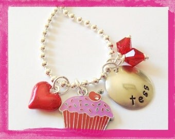 Personalized CUPCAKE NECKLACE - Jewelry for Kids - Hand Stamped for Children