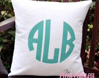 Monogram Throw Pillow Cover | Monogrammed Pillow | Initial Pillow Sham