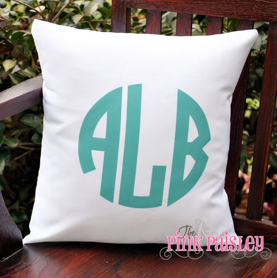 How To Make A Monogram Throw Pillow : Monogram Throw Pillow Cover by PinkPaisleyMonograms on Etsy