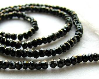 Black Spinel faceted rondelles, black gemstone beads, 13.5 inch strand, 2.5mm (12k8)