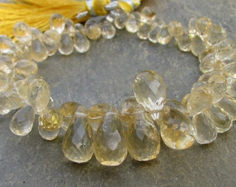 Citrine Faceted Teardrop Briolettes Full strand (4w87)