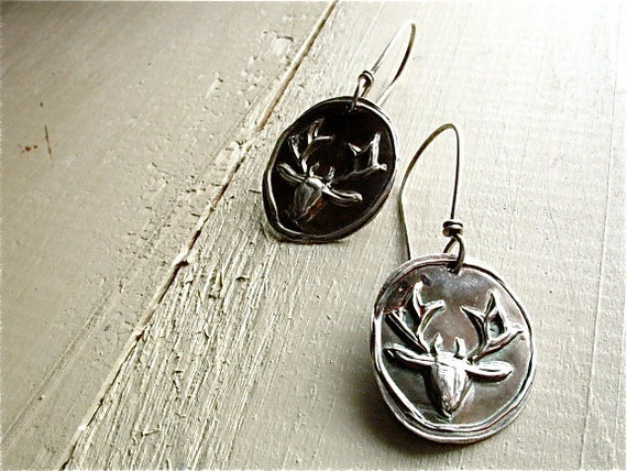 silver folkloric deer earrings : woodland jewelry .  handcrafted