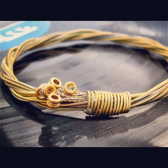 Recycled Acoustic Guitar String Bracelet gold colored with brass ball ends attached Mens or Womens Unique Gift