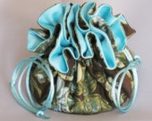 Aqua Floral Organizer Pouch--Jewelry Drawstring Travel Tote---Medium Size