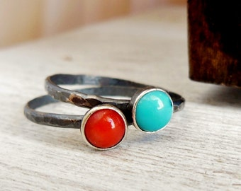 Oxidized Stacking Ring Set of Two Sterling Silver Gemstones Cabs Your Choice