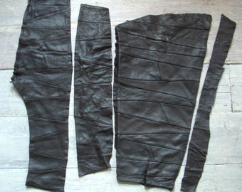 Brown Leather Pieces, 4 Long Patchwork Lengths, Soft Vintage Hide Remnants, DIY Sewing & Crafts, Suede, Genuine Skin Supplies, Free Shipping