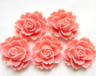 12  Rose cabochons coral orange resin flatback jewelry supplies 16mm x 14mm x 6mm B1289