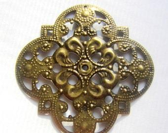 8 Antique bronze filigree pendants filigree flower wraps jewelry supplies B186